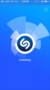 Shazam app listening to know song playing