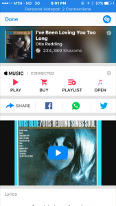 Shazam app shows you music playing