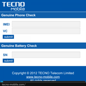 Tecno genuine phone and battery check