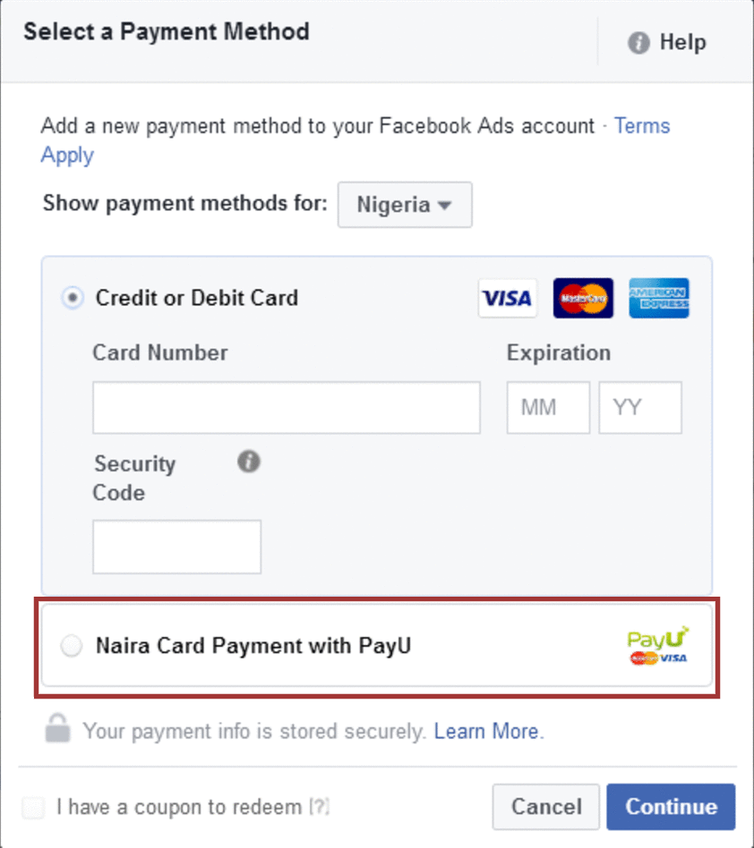 Pay for Facebook Ads in Naira with Nigerian Debit Cards with PayU
