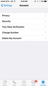 WhatsApp Account Settings