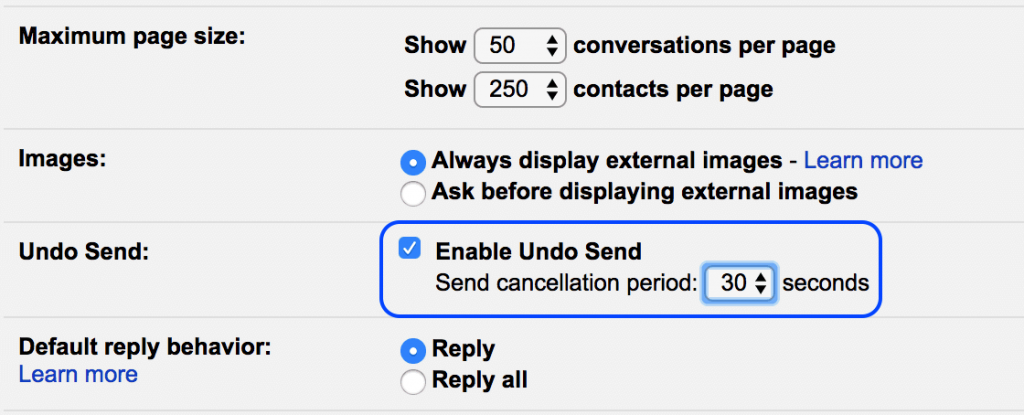 Enable Undo Send Option in Gmail