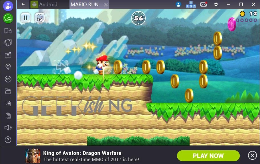 Playing Mario Run Android game on PC