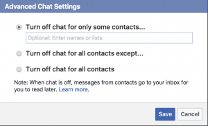 Turn off Chat for Some Friends Facebook