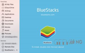 click to install BlueStacks for playing apps games on mac