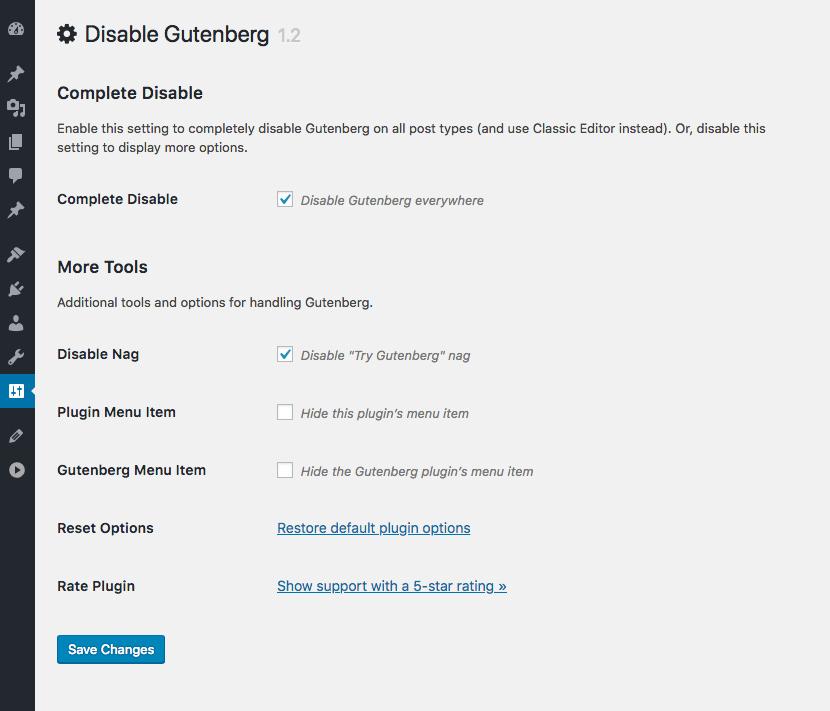 Disable Gutenberg WordPress Editor